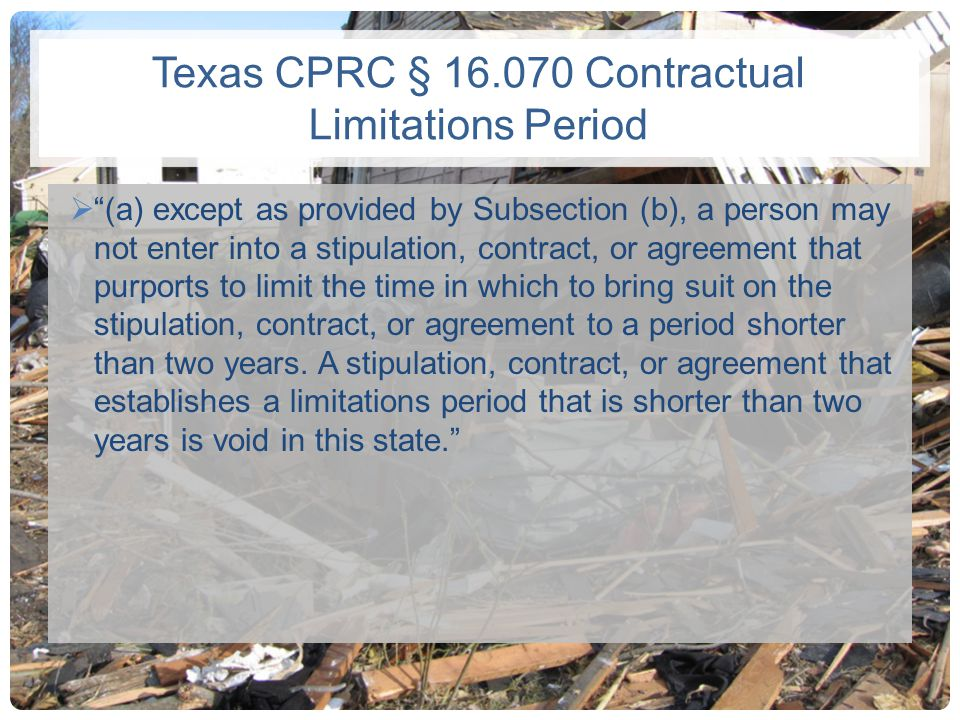 Texas CPRC § 16.070 Contractual Limitations Period