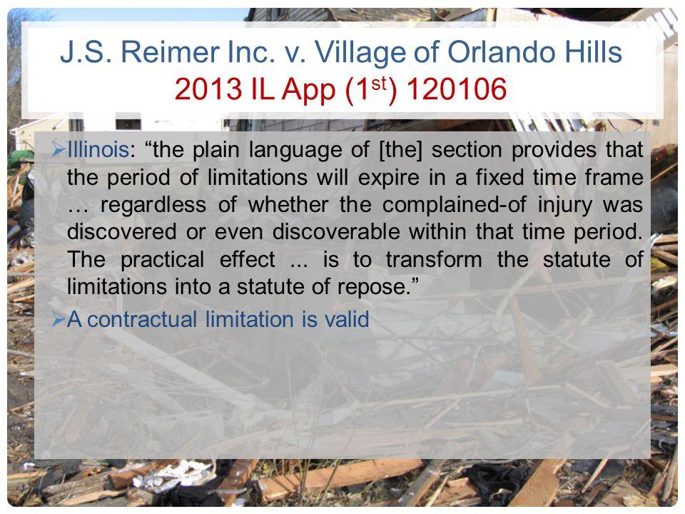 J.S. Reimer Inc. v. Village of Orlando Hills 2013 IL App (1st) 120106
