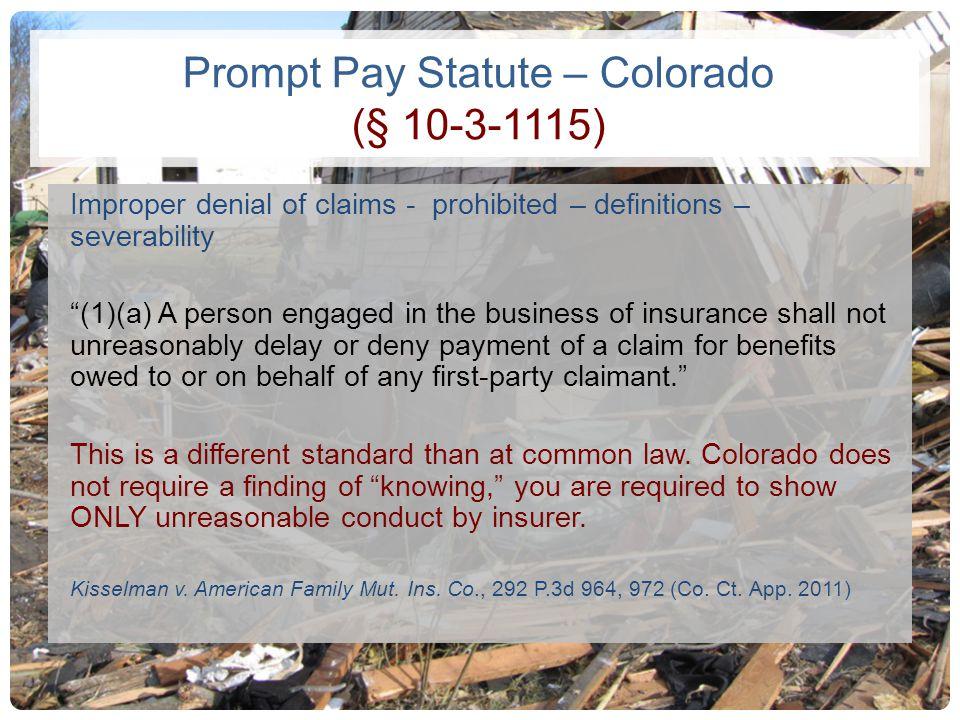 Prompt Pay Statute – Colorado (§ 10-3-1115)