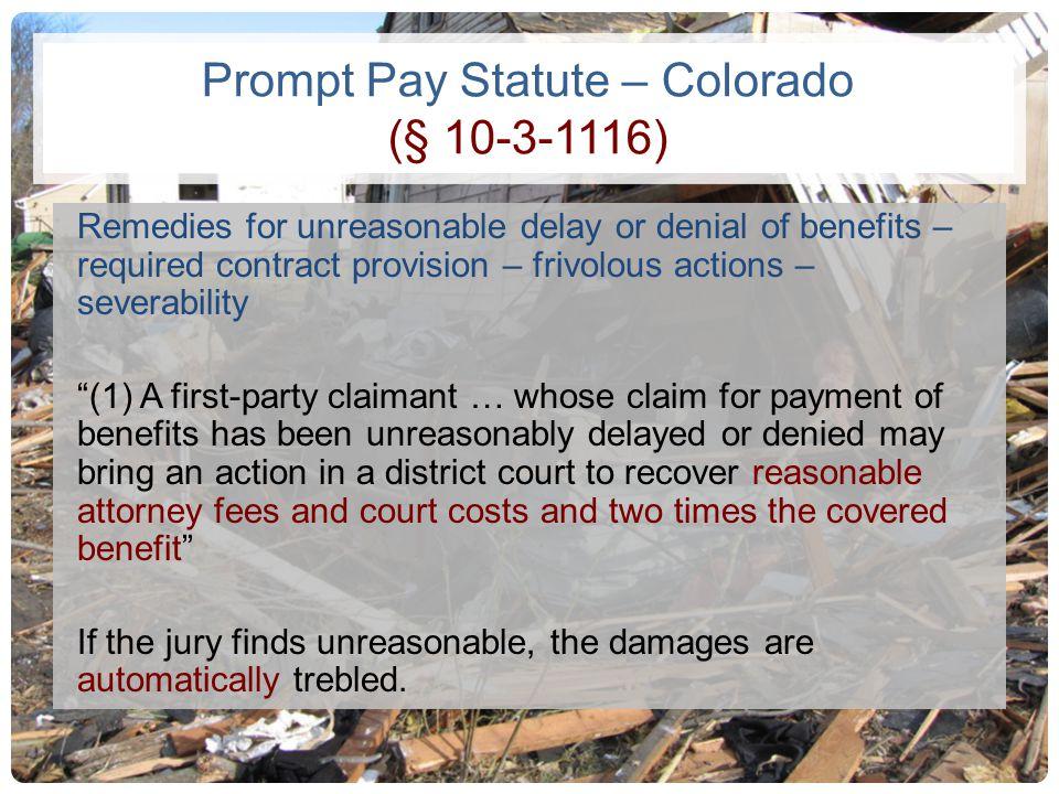 Prompt Pay Statute – Colorado (§ 10-3-1116)