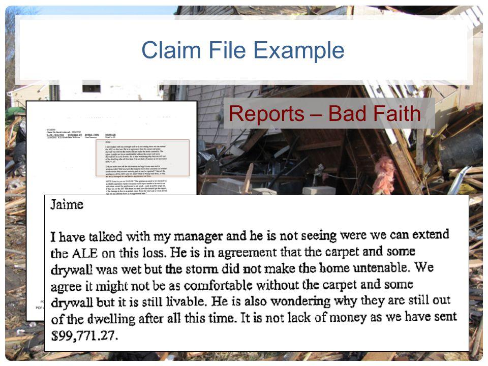 Claim File Example Reports – Bad Faith