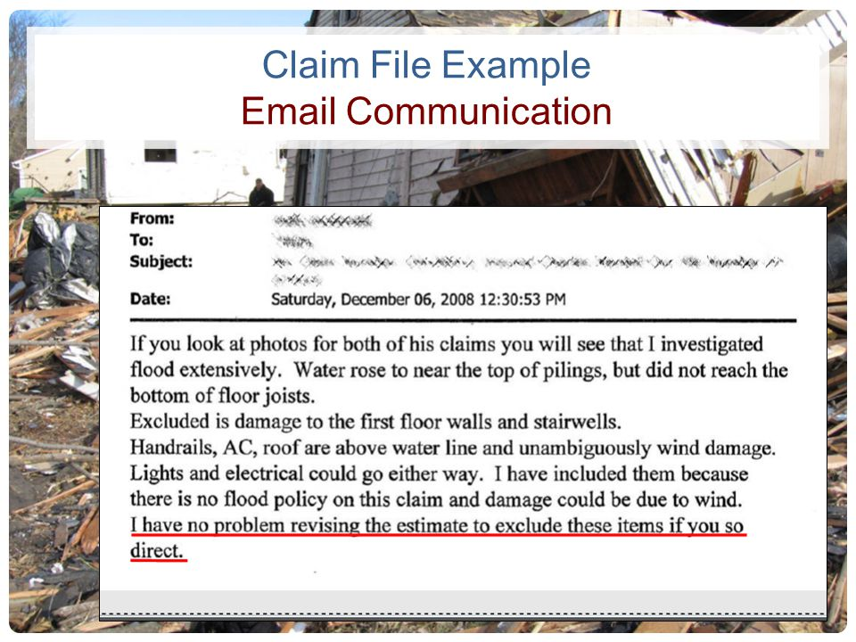 Claim File Example Email Communication