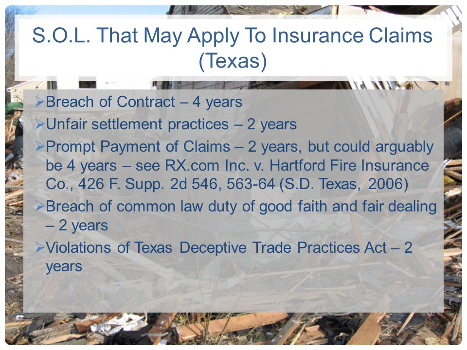 S.O.L. That May Apply To Insurance Claims (Texas)