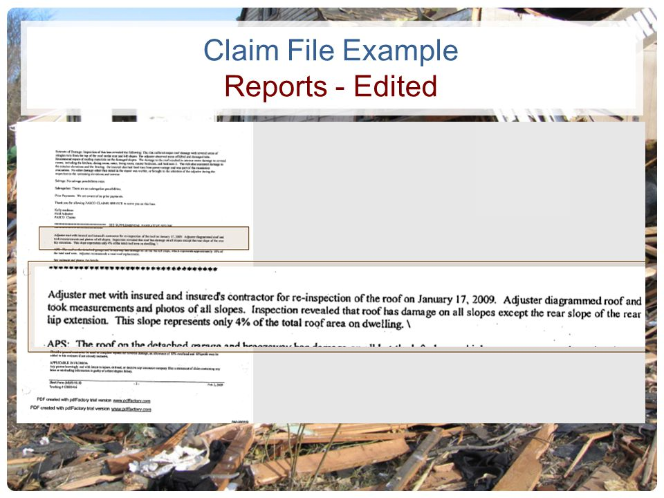 Claim File Example Reports - Edited