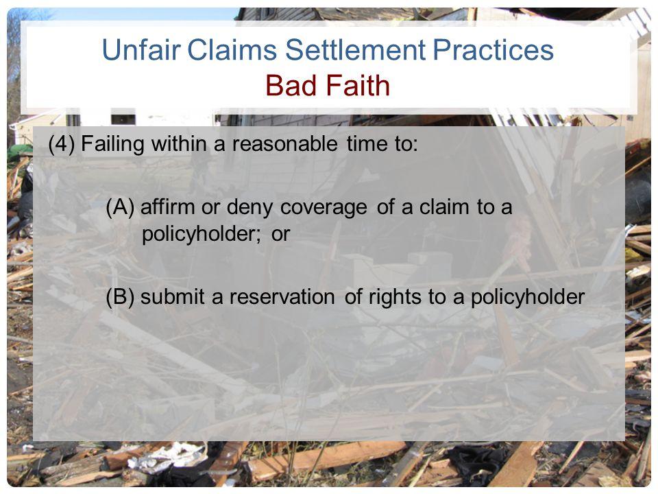 Unfair Claims Settlement Practices Bad Faith