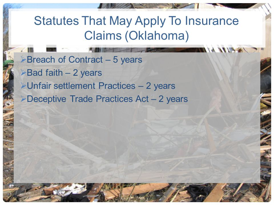 Statutes That May Apply To Insurance Claims (Oklahoma)