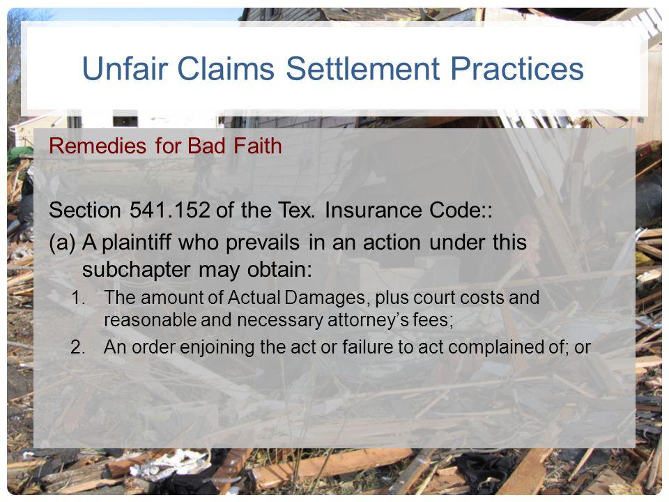 Unfair Claims Settlement Practices