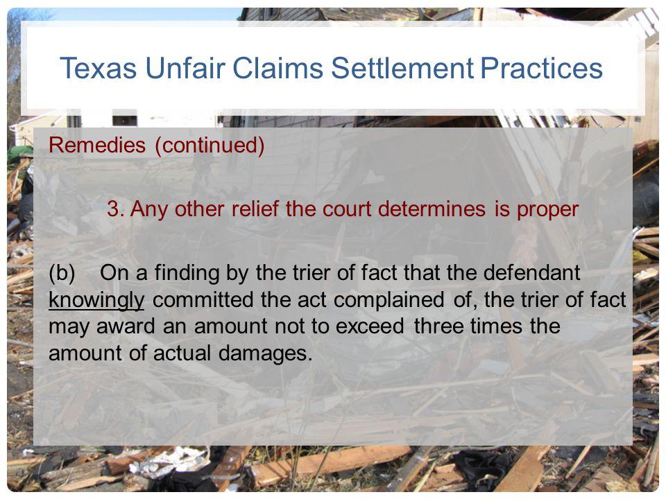 Texas Unfair Claims Settlement Practices