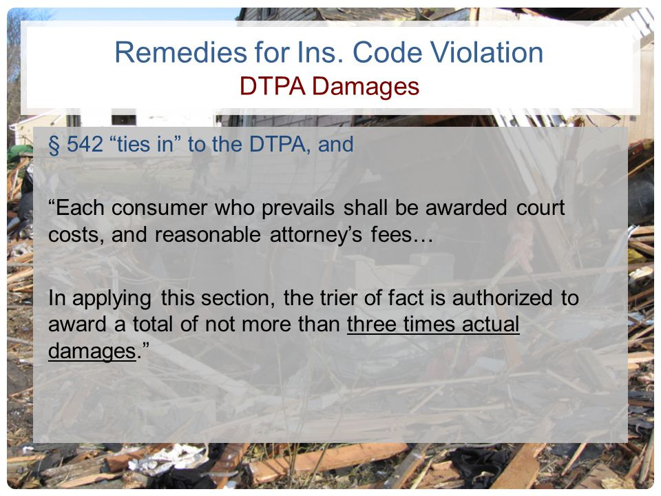 Remedies for Ins. Code Violation DTPA Damages