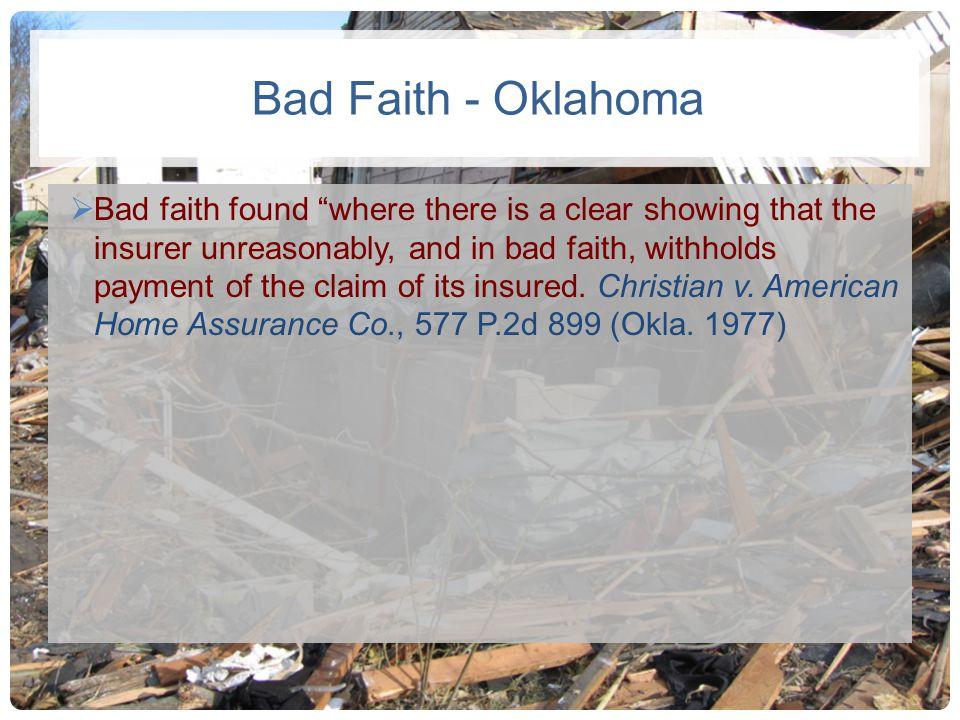 Bad Faith - Oklahoma