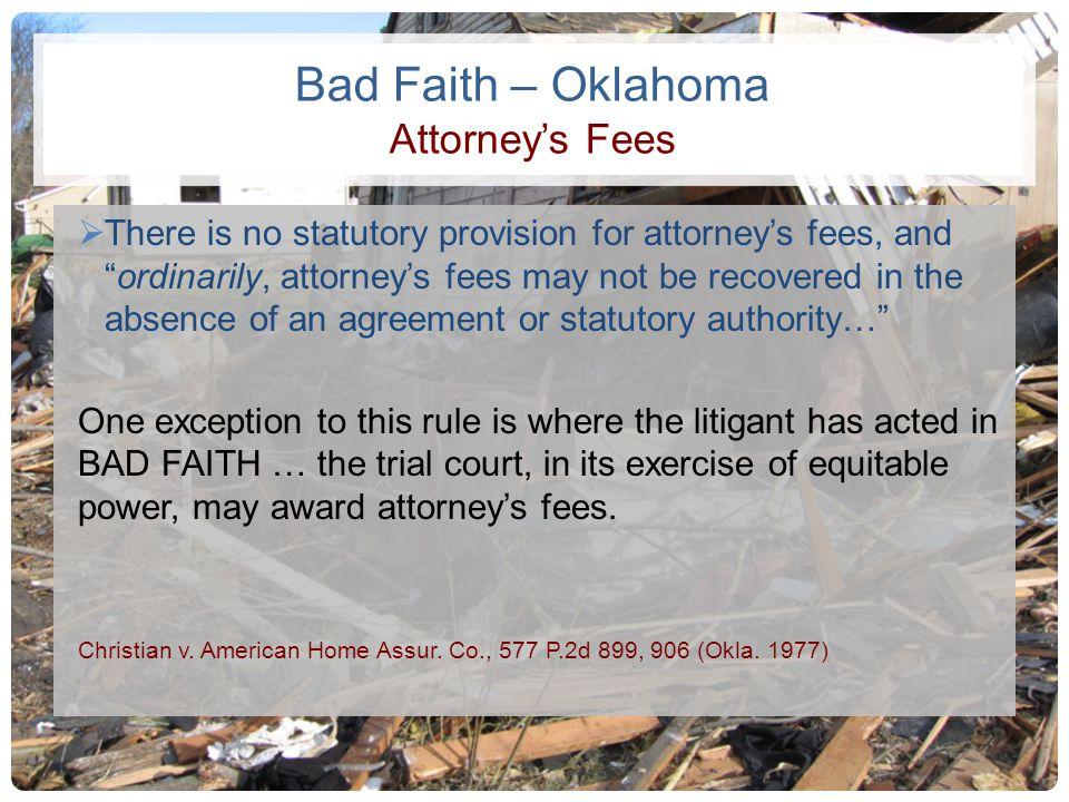 Bad Faith – Oklahoma Attorney's Fees