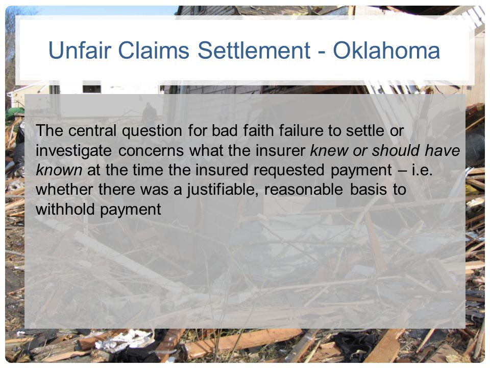 Unfair Claims Settlement - Oklahoma