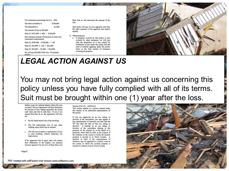 LEGAL ACTION AGAINST US
