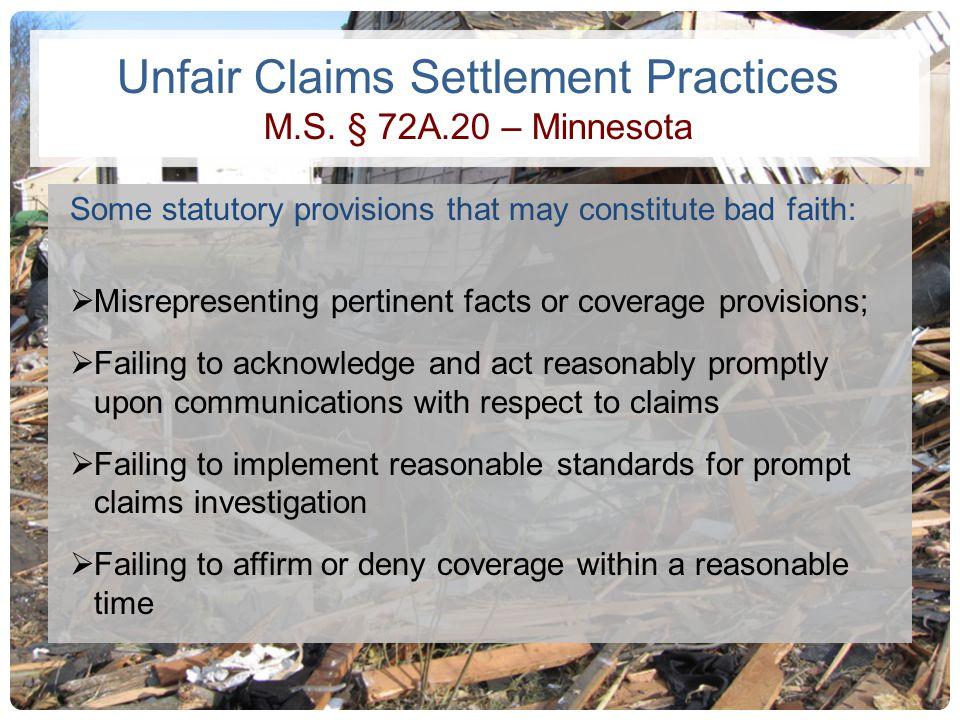 Unfair Claims Settlement Practices M.S. § 72A.20 – Minnesota