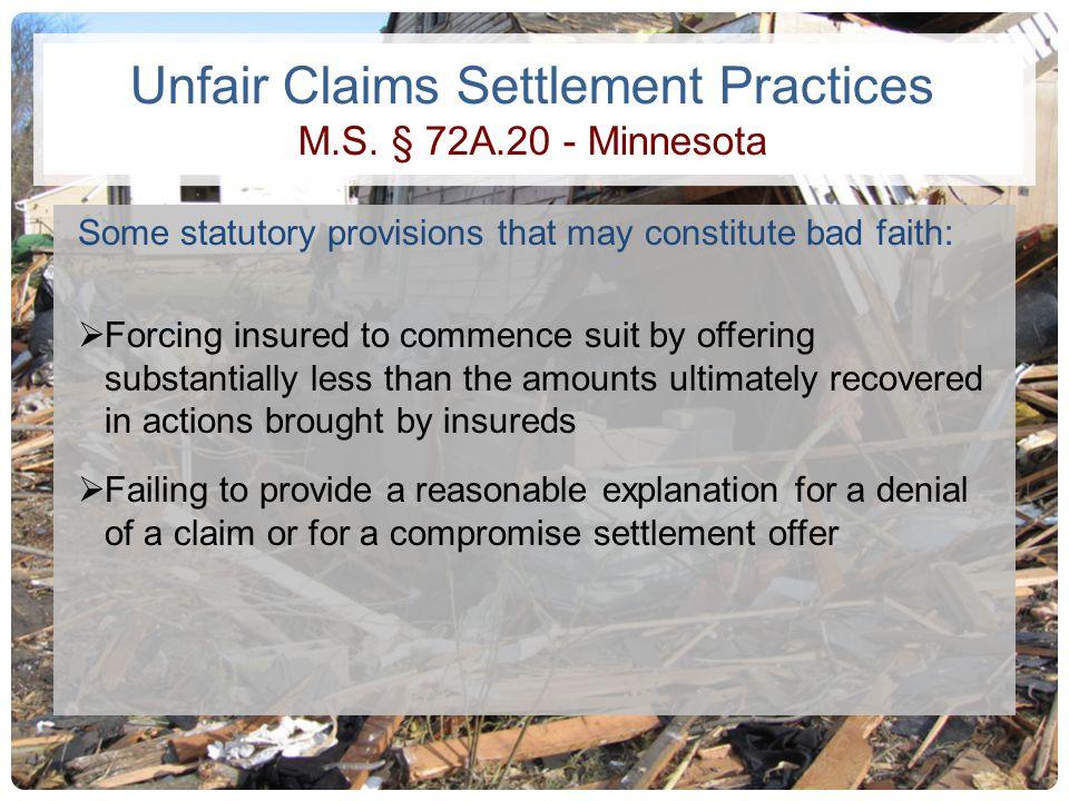 Unfair Claims Settlement Practices M.S. § 72A.20 - Minnesota