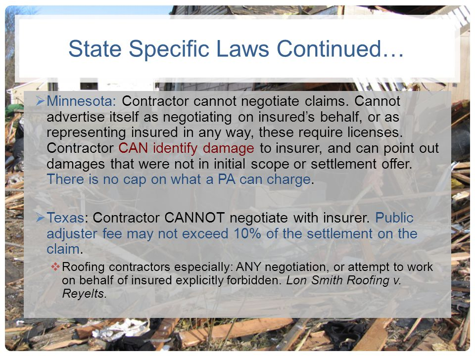 State Specific Laws Continued…