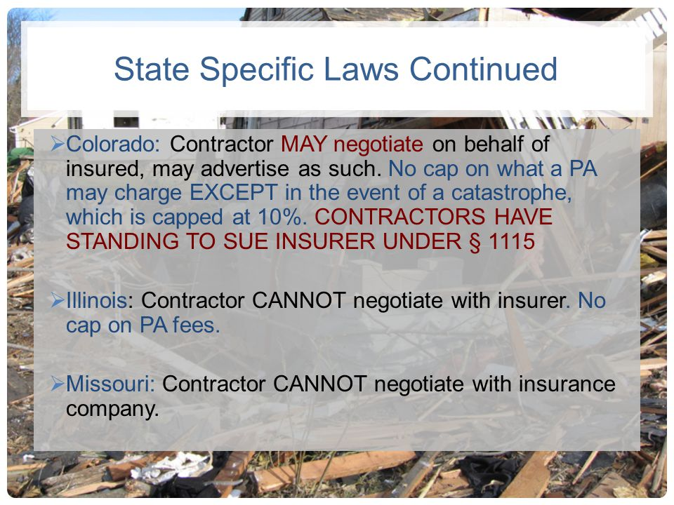 State Specific Laws Continued