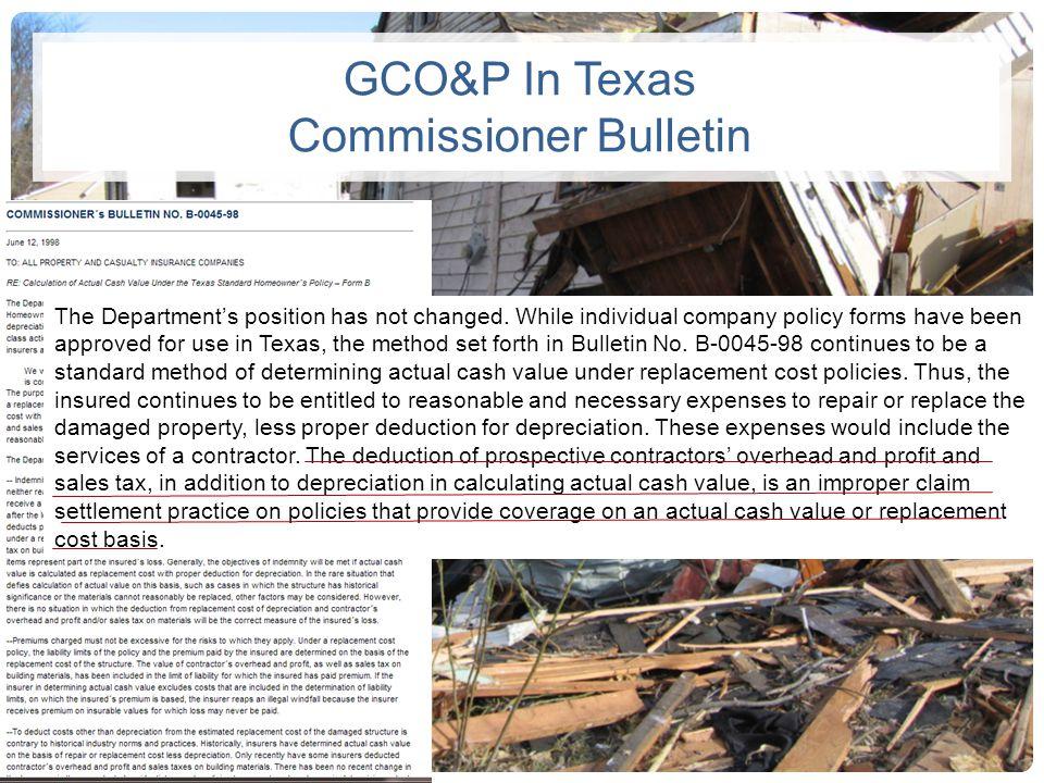 GCO&P In Texas Commissioner Bulletin