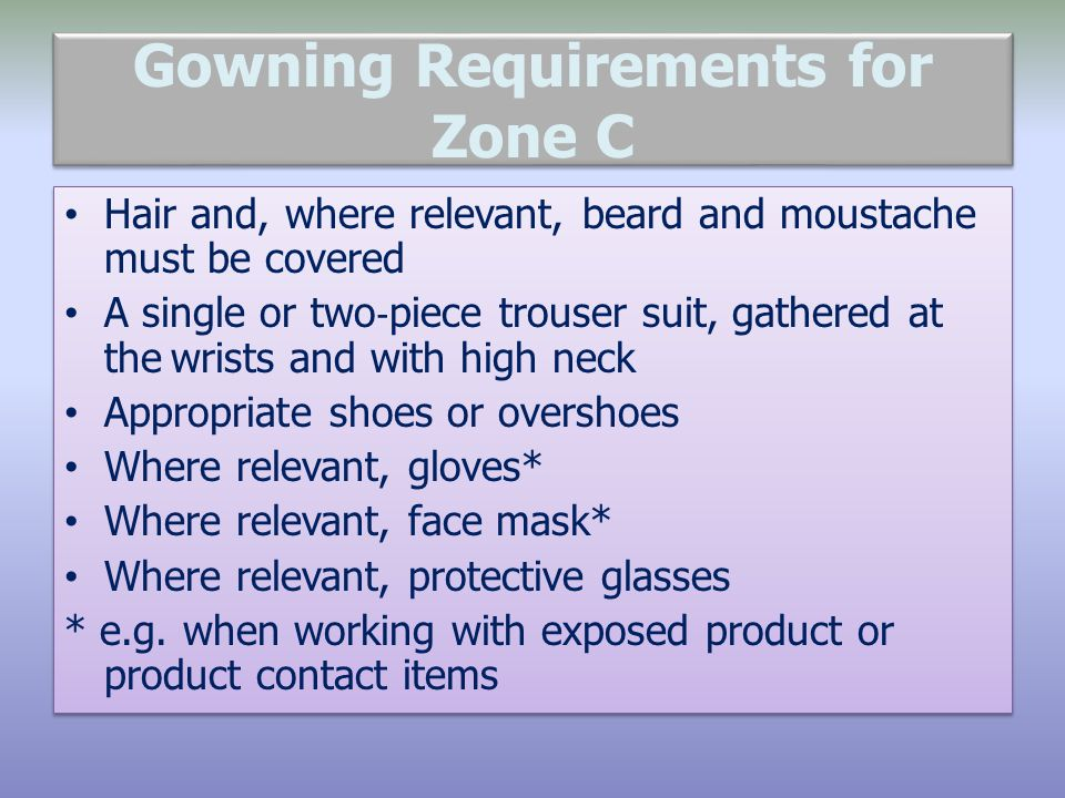Gowning Requirements for Zone C