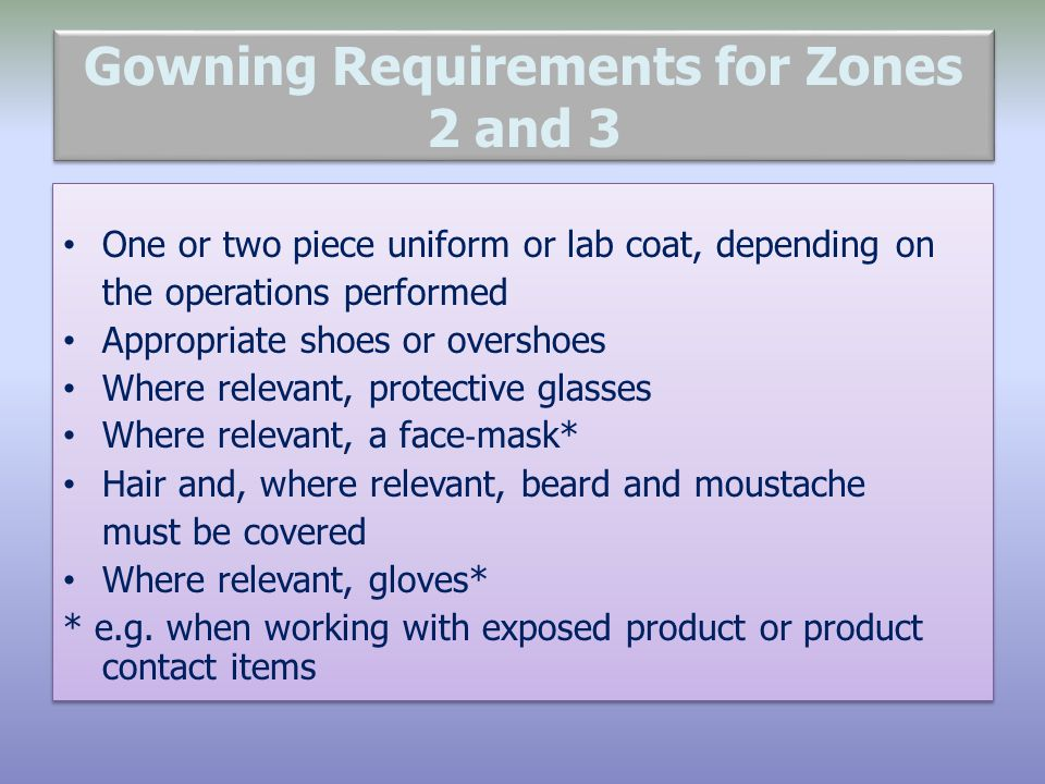Gowning Requirements for Zones 2 and 3