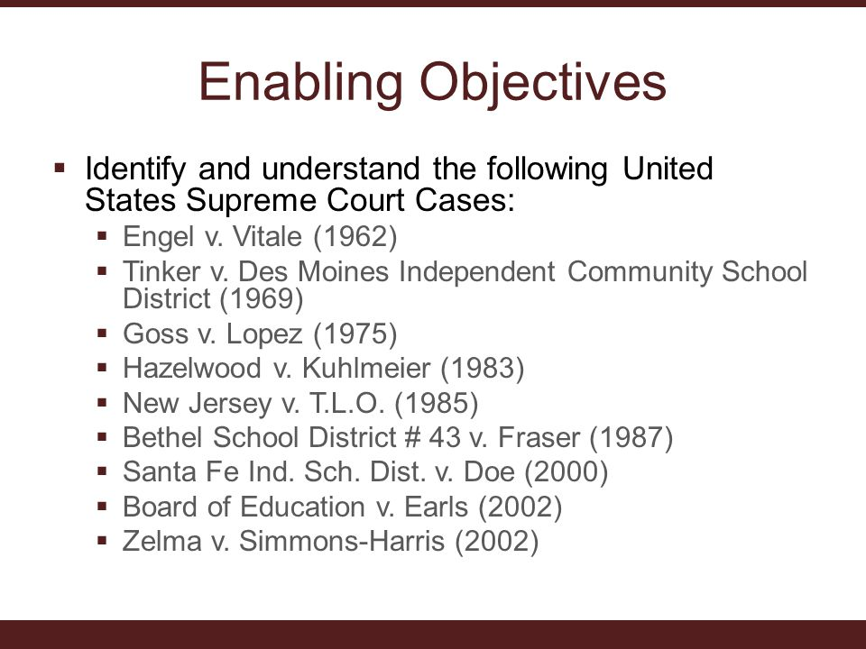 Enabling Objectives Identify and understand the following United States Supreme Court Cases: Engel v. Vitale (1962)