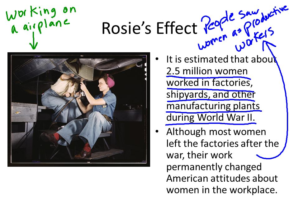 Rosie's Effect It is estimated that about 2.5 million women worked in factories, shipyards, and other manufacturing plants during World War II.