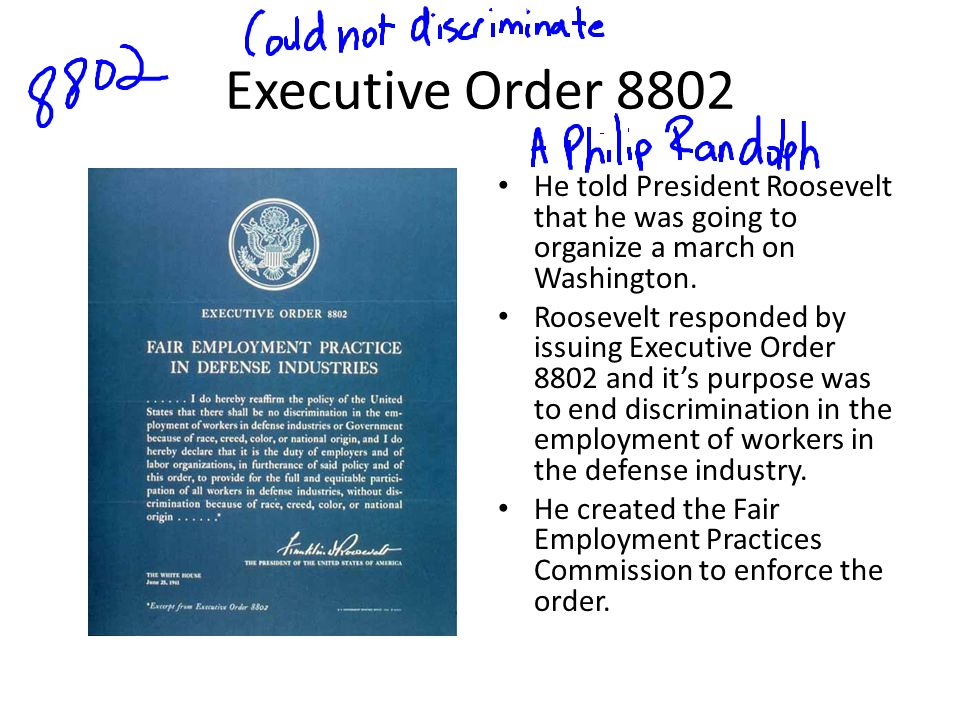 Executive Order 8802 He told President Roosevelt that he was going to organize a march on Washington.