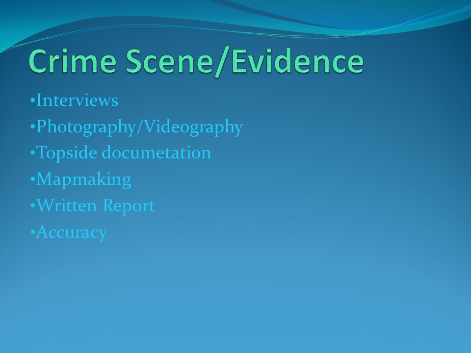 Crime Scene/Evidence Interviews Photography/Videography