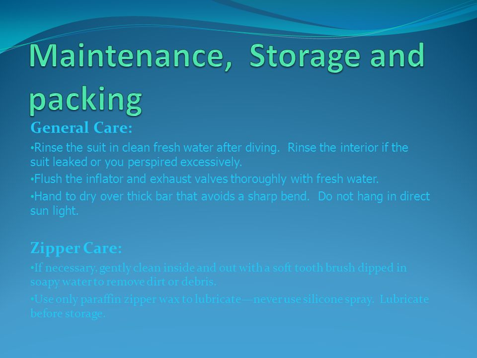 Maintenance, Storage and packing