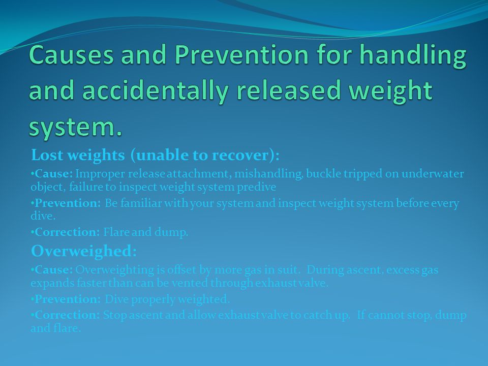 Causes and Prevention for handling and accidentally released weight system.