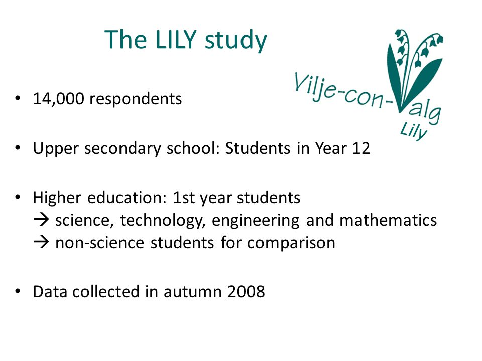 The LILY study Lily 14,000 respondents