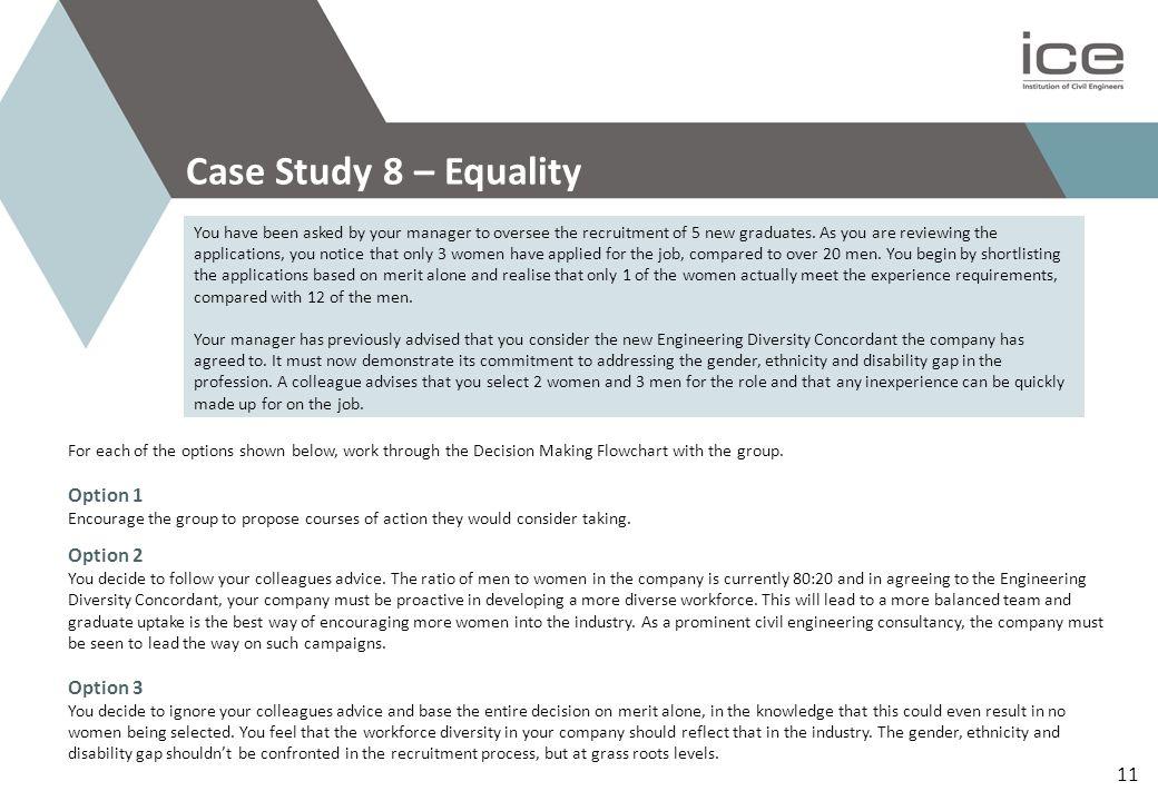 Case Study 8 – Equality Option 1 Option 2 Option 3