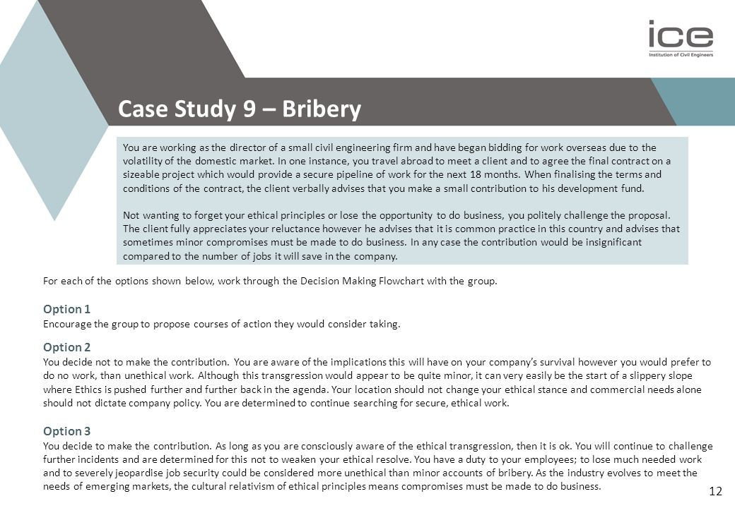 Case Study 9 – Bribery Option 1 Option 2 Option 3