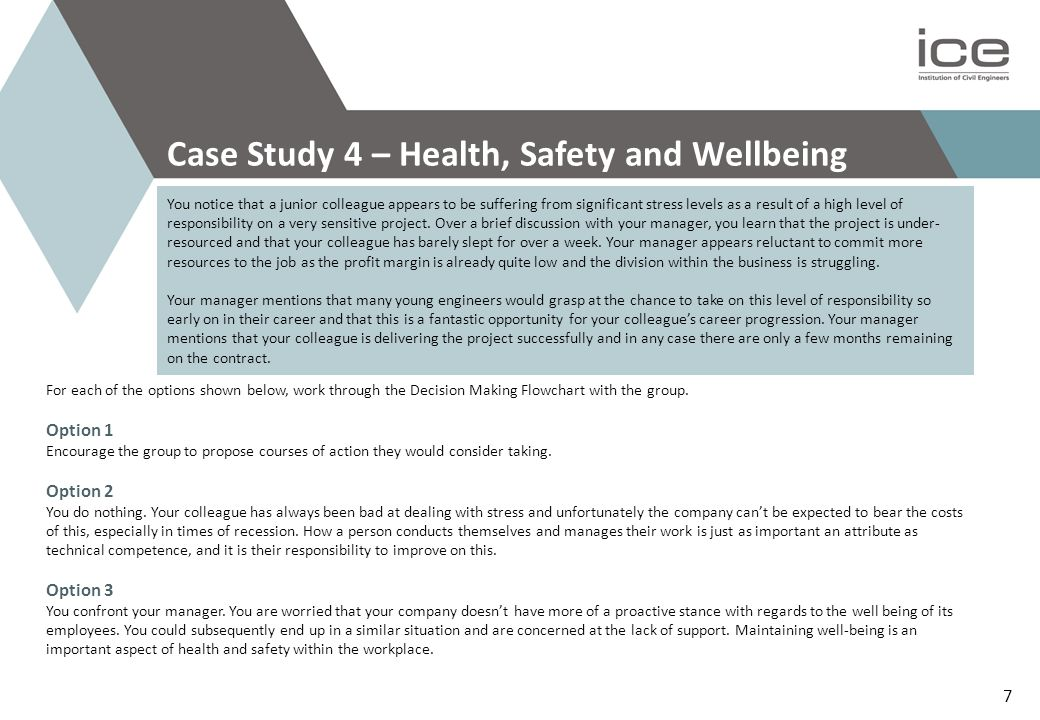 Case Study 4 – Health, Safety and Wellbeing