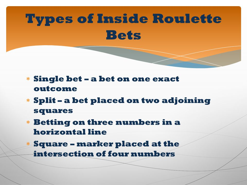 Types of Inside Roulette Bets