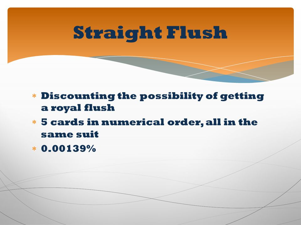 Straight Flush Discounting the possibility of getting a royal flush
