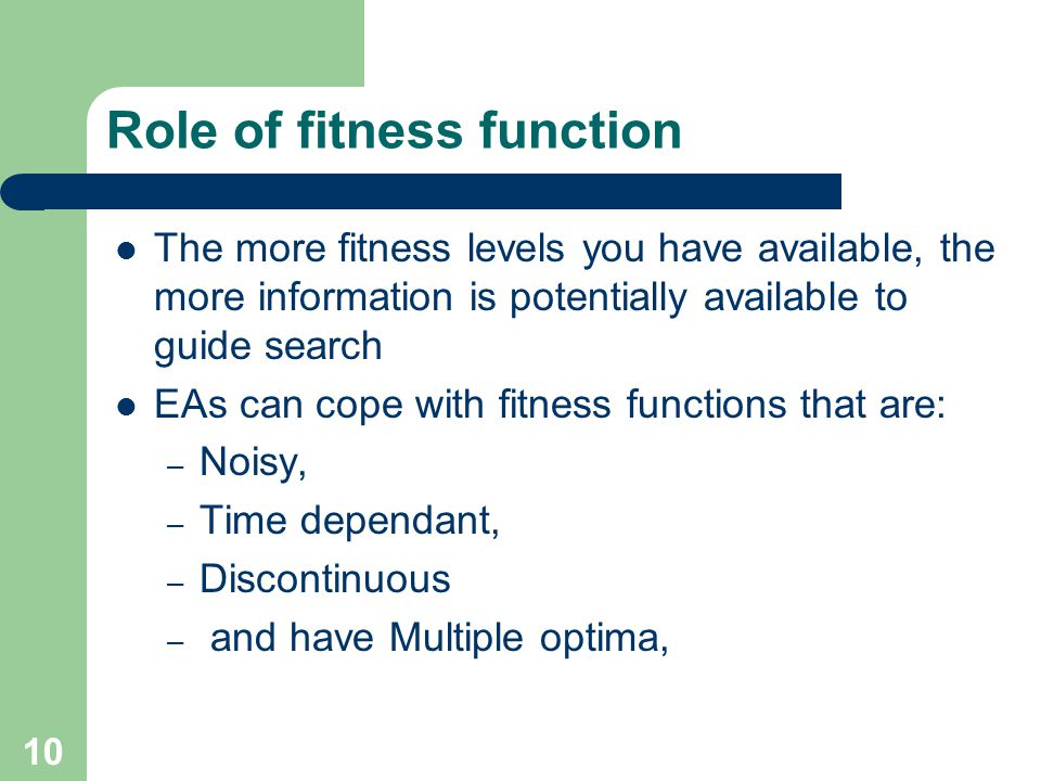 Role of fitness function