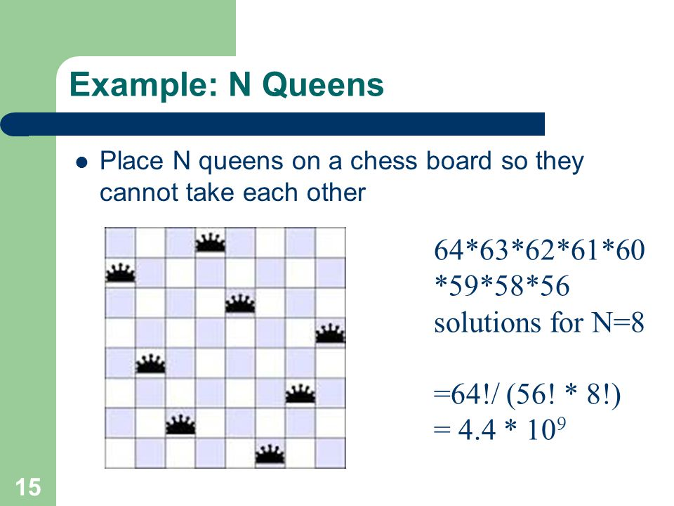 Example: N Queens 64*63*62*61*60*59*58*56 solutions for N=8