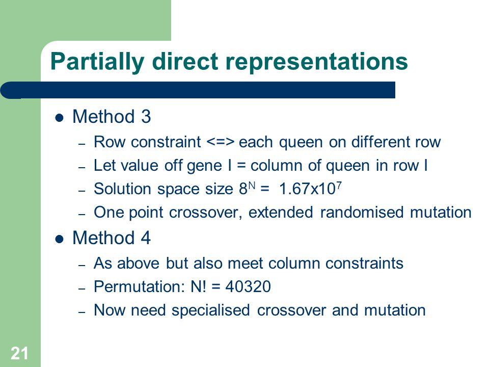 Partially direct representations