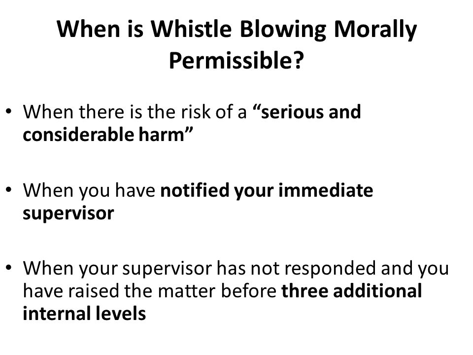 When is Whistle Blowing Morally Permissible