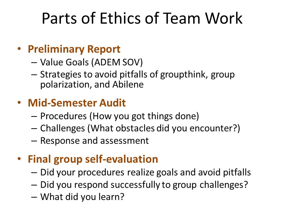 Parts of Ethics of Team Work