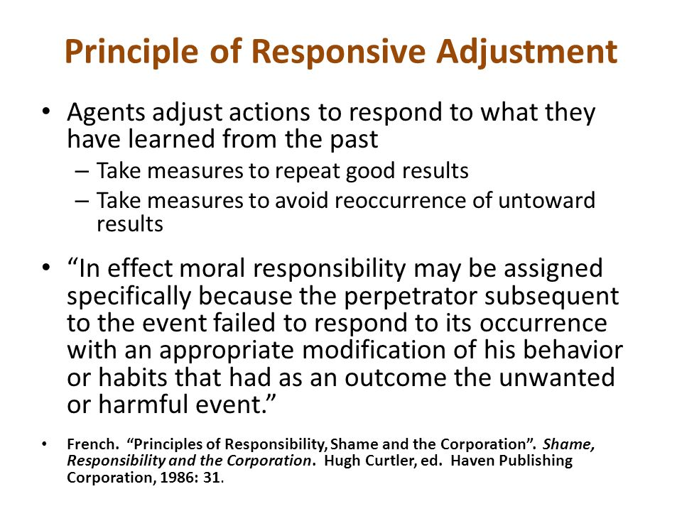 Principle of Responsive Adjustment