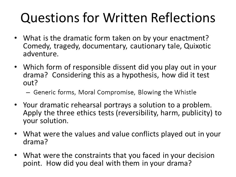 Questions for Written Reflections