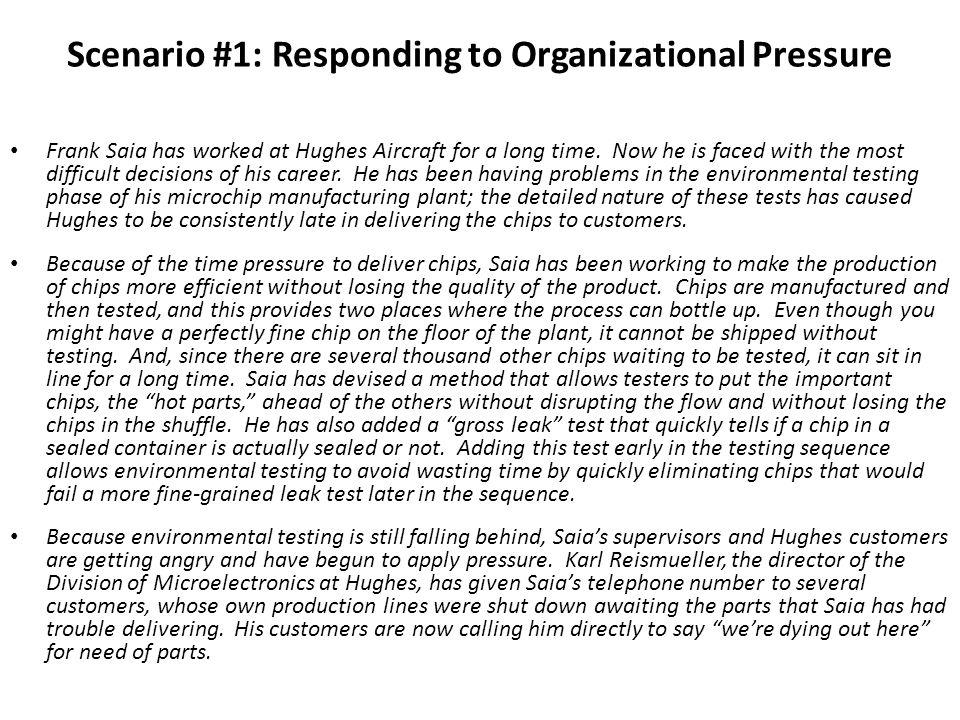 Scenario #1: Responding to Organizational Pressure