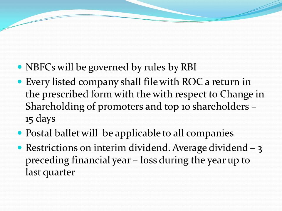 NBFCs will be governed by rules by RBI