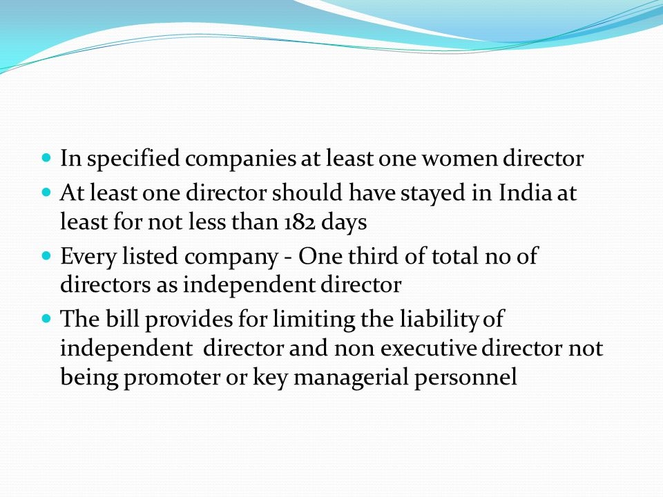 In specified companies at least one women director
