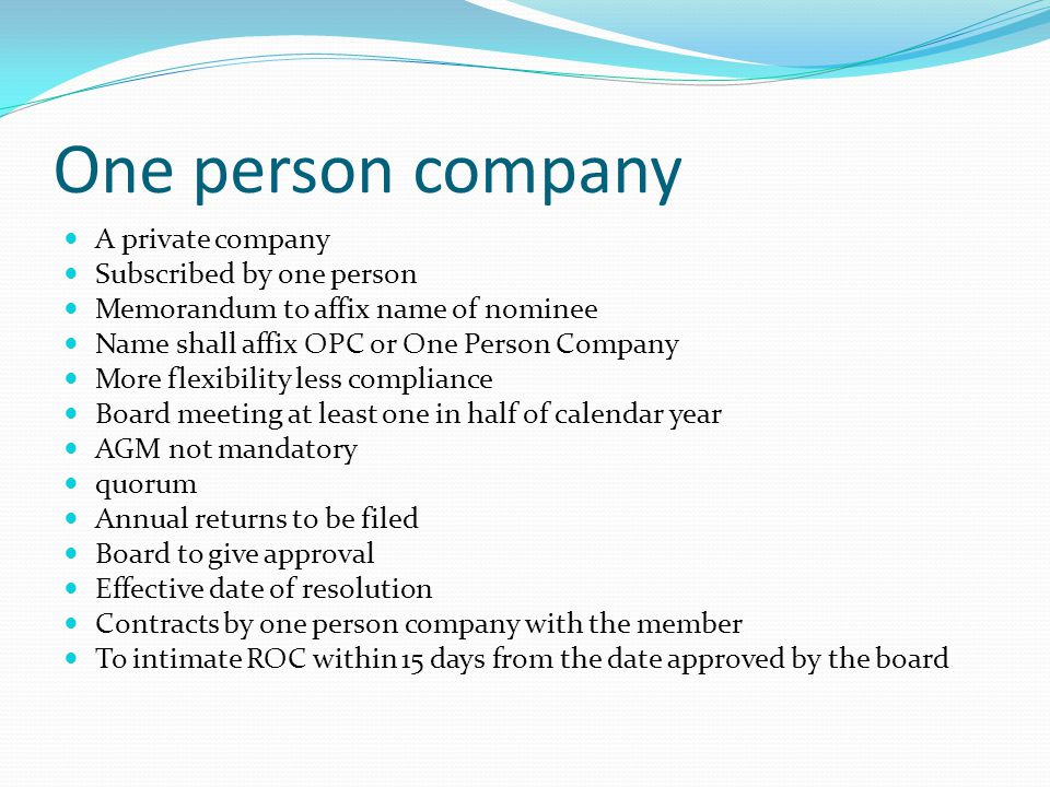 One person company A private company Subscribed by one person