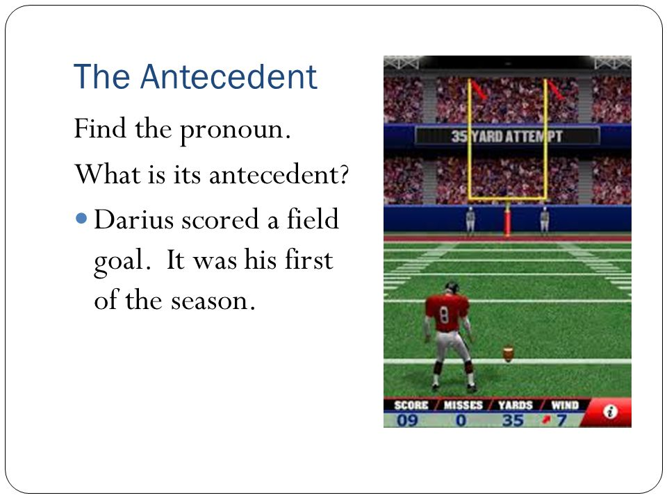 The Antecedent Find the pronoun. What is its antecedent