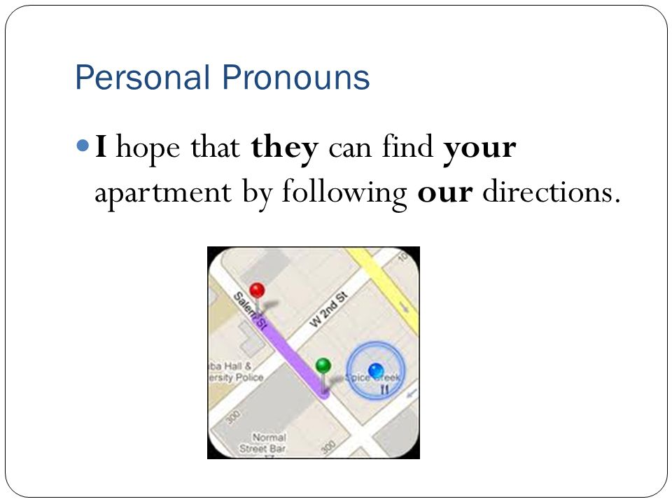 Personal Pronouns I hope that they can find your apartment by following our directions.