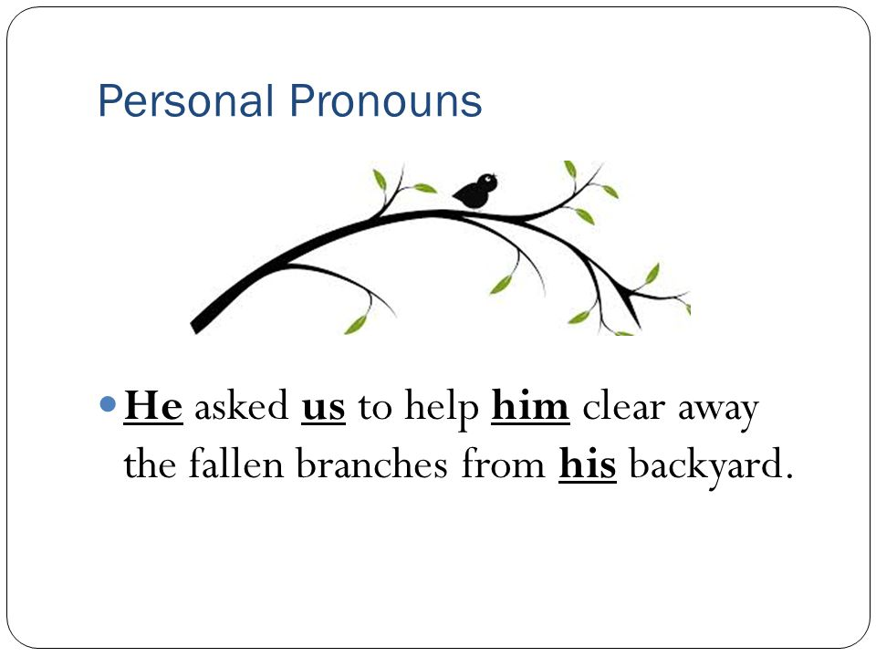Personal Pronouns He asked us to help him clear away the fallen branches from his backyard.